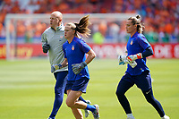 DECINES-CHARPIEU, FRANCE - JULY 07: Alyssa Naeher #1, Ashlyn Harris #18 warming up prior to the 2019 FIFA Women's World Cup France Final match between Netherlands and the United States at Groupama Stadium on July 07, 2019 in Decines-Charpieu, France.