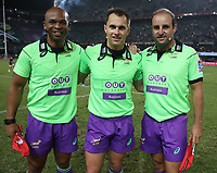 DURBAN, SOUTH AFRICA - APRIL 22:  Assistant Referee: Egon Seconds of South Africa with Referee: Marius van der Westhuizen of South Africa and Assistant Referee: Stuart Berry of South Africa during the Super Rugby match between Cell C Sharks and Rebels at Growthpoint Kings Park on April 22, 2017 in Durban, South Africa. Photo: Steve Haag / stevehaagsports.com