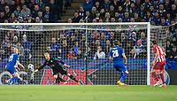 Saul Niguez of Club Atletico de Madrid scores his goal past Goalkeeper Kasper Schmeichel of Leicester City  during the UEFA Champions League QF 2nd Leg match between Leicester City and Atletico Madrid at the King Power Stadium, Leicester, England on 18 April 2017. Photo by Andy Rowland.