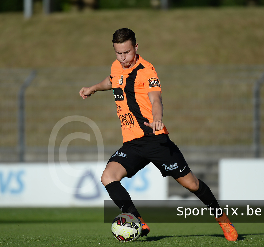20150710 - DEINZE , BELGIUM : Deinze's Gauthier Libbrecht pictured during a friendly match between Belgian first division team KV Kortrijk and Belgian second division soccer team SK Deinze , during the preparations for the 2015-2016 season, Friday 10th July 2015 in Deinze . PHOTO DAVID CATRY