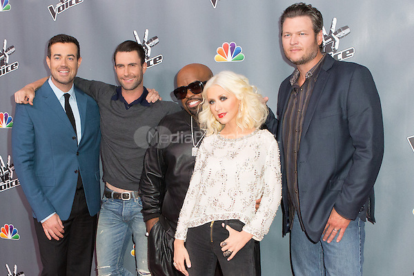 "UNIVERSAL CITY, CA - NOVEMBER 07: Cee Lo Green, Christina Aguilera, Adam Levine Carson Daly and Blake Shelton at NBC's ""The Voice"" Season 5 Top 12 in Universal City Plaza, on November 7th, 2013 in Universal City, California Photo Credt: RTNRossi / MediaPunch Inc."