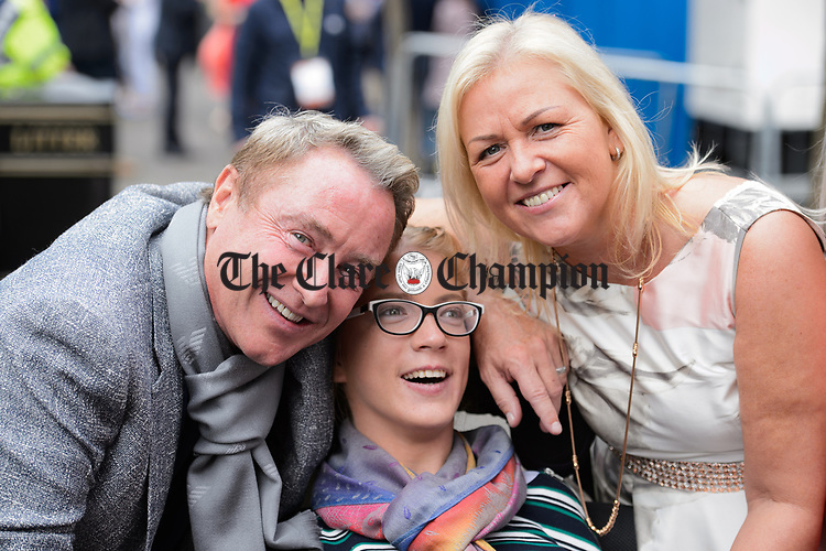 Michael Flatley with Ann Norton and her daughter Nicole at the official opening of the All-Ireland Fleadh 2017 in Ennis. Photograph by John Kelly.