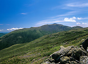Mount Washington from the Appalachian Trail (Gulfside Trail) in the White Mountains of New Hampshire USA. Mount Washington is straight ahead across the Great Gulf.