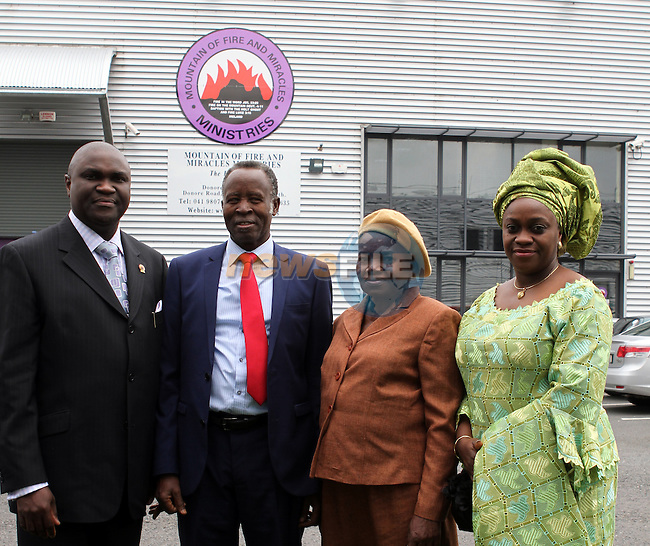 Pastor Olufemi Sokan, Pastor L.A Audy, Pastor Audy and Mrs Yinka Tayo at the Thanksgiving Mass to celebrate the 10th anniversary of the Mountain of Fire and Miracles Ministries...(Photo Jenny Matthews/www.newsfile.ie)