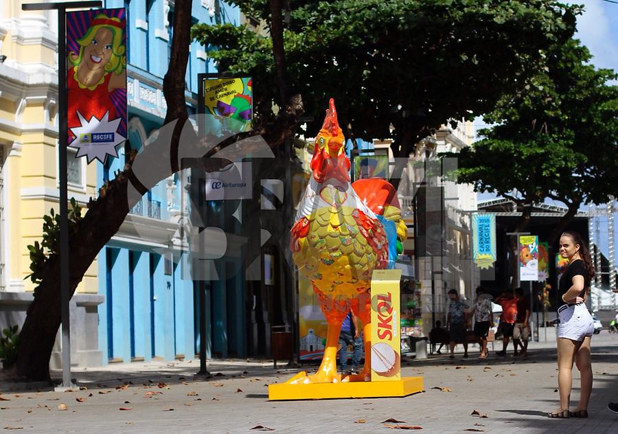 RECIFE-PE-27,01,2018- CARNAVAL-PE-  Em comemoração aos 40 anos do Clube de Máscaras Galo da Madrugada,  foram espalhadas réplicas do Galo da Madrugada pelo Recife. Recife Antigo, neste sábado, 27. (Foto: Jean Nunes/Brazil Photo Press)