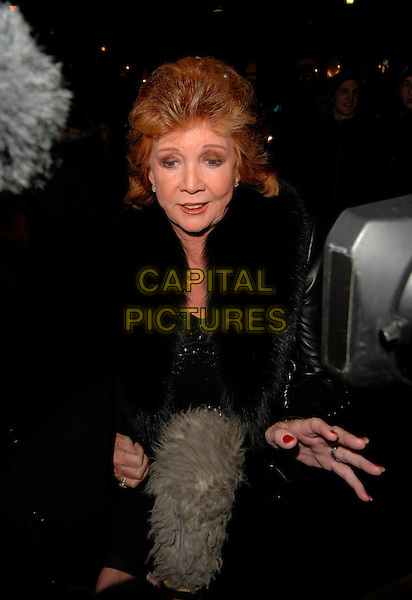 "CILLA BLACK.The ""Equus"" VIP press night, Gielgud Theatre, London, UK..February 27th, 2007.half length black fur microphone .CAP/CAN.©Can Nguyen/Capital Pictures"