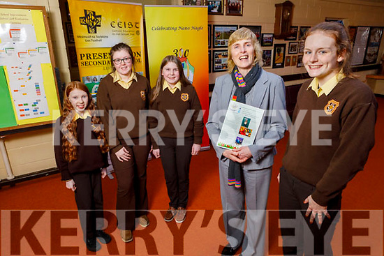 Eileen Kennelly, Principal of Presentation Secondary School in Listowel welcomes their new funding in the region of €3 million for the upgrade of the school.Front l to r: Eileen Kennelly (Principal) and Maire O'Neill (Deputy Head Girl). <br /> Back: Tara Daly, Eimear Shine (Head Girl) and Aine Fitzmaurice