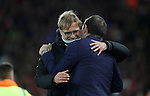 Jurgen Klopp manager of Liverpool and Manager of West Ham United Slaven Bilic during the Premier League match at Anfield Stadium, Liverpool. Picture date: December 11th, 2016.Photo credit should read: Lynne Cameron/Sportimage