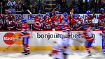 11 November 2008: The Montreal Canadiens' bench celebrate their third goal of the night against the Ottawa Senators at the Bell Centre, in Montreal, Quebec, Canada. The Canadiens shut out the Senators 4-0 as the Habs celebrate their 100th Season...Mandatory Photo Credit: Ed Wolfstein Photo *** Editorial Sales through Icon Sports Media *** www.iconsportsmedia.com
