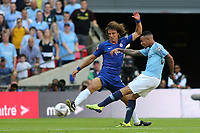 Gabriel Jesus of Manchester City takes a shot at the Chelsea goal as David Luiz tries to intervene during Chelsea vs Manchester City, FA Community Shield Football at Wembley Stadium on 5th August 2018