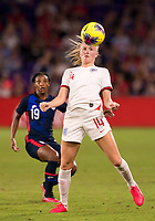 5th March 2020, Orlando, Florida, USA;  England defender Leah Williamson (14) during the Women's SheBelieves Cup soccer match between the USA and England on March 5, 2020 at Exploria Stadium in Orlando, FL.