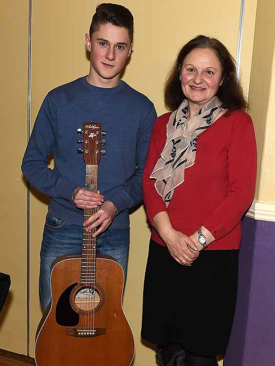 Last years winner David O'Brien and his mother Ann at the S Factor final in the Grove House Dinleer. Photo:Colin Bell/pressphotos.ie