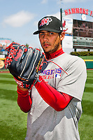 Martin Perez (45) of the Frisco RoughRiders prior to a game against the Springfield Cardinals on April 16, 2011 at Hammons Field in Springfield, Missouri.  Photo By David Welker/Four Seam Images..