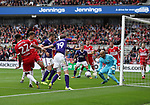 Richard Stearman of Sheffield Utd crossing the ball across goal during the Sky Bet Championship match at the Riverside Stadium, Middlesbrough. Picture date: August 12th 2017. Picture credit should read: Jamie Tyerman/Sportimage