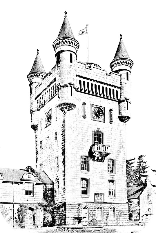 Line drawing photo effect of Balmoral Castle, the Scottish retreat of Queen Elizabeth and the Royal Family.<br /> The Queen's dwelling on Royal Deeside, Scotland, originally purchased by Queen Victoria.<br /> <br /> dSider Royal Deeside online magazine, photography courses.<br /> Photography by Bill Bagshaw.