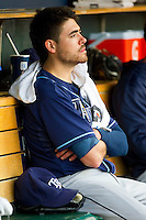 Matt Moore (55) of the Tampa Bay Rays watches the action from the dugout during the Major League Baseball game against the Detroit Tigers at Comerica Park on June 4, 2013 in Detroit, Michigan.  The Tigers defeated the Rays 10-1.  Brian Westerholt/Four Seam Images