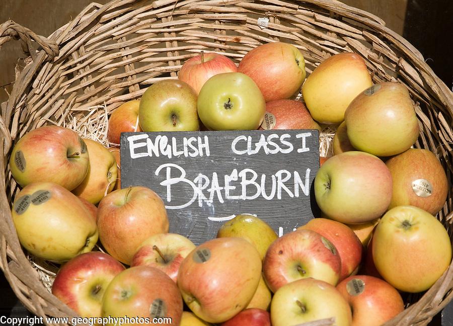 Braeburn apples for sale in wicker basket