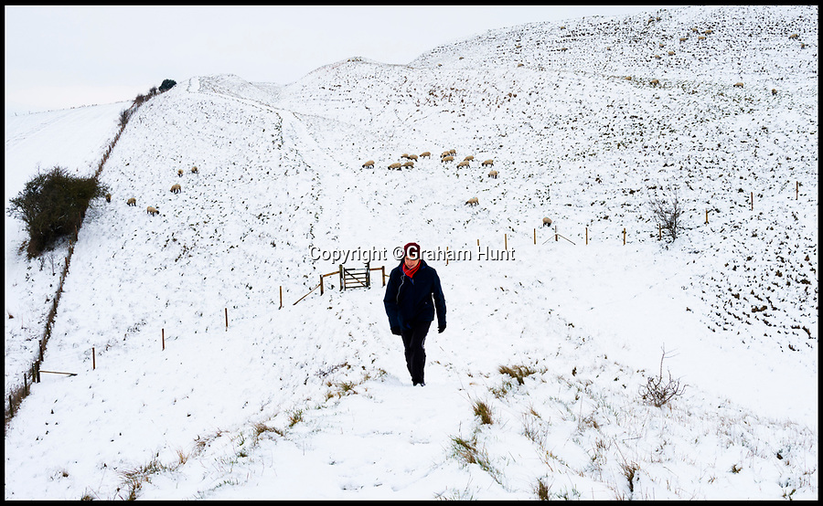 BNPS.co.uk (01202 558833)<br /> Pic: Graham Hunt/BNPS<br /> <br /> A blanket of snow covers the ancient hillfort of Maiden Castle near Dorchester in Dorset.<br /> <br /> A walker explores the earthworks of the hill fort in the freezing conditions.