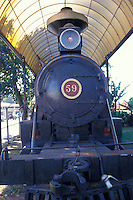 Locomotive 59 of the Costa Rica Northern Railway on permanent display in the Museo Nacional de Ferrocarril (National Railway Museum), San Jose, Costa Rica. This Baldwin steam locomotive worked from 1939-1956 on the Atlantic railway beween San Jose and Puerto Limon.