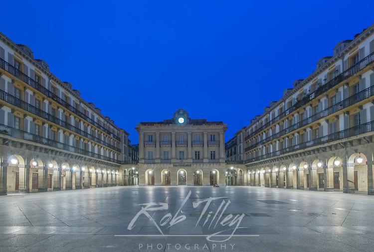 Spain, San Sebastian, Plaza de la Constitucion at Dawn