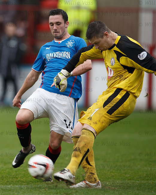 Nicky Clark closes down keeper Graeme Smith on a kickout