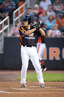 Luke Ringhofer (45) of the Aberdeen IronBirds at bat against the \jv\ at Leidos Field at Ripken Stadium on July 27, 2017 in Aberdeen, Maryland.  The IronBirds defeated the Renegades 3-0 in game two of a double-header.  (Brian Westerholt/Four Seam Images)