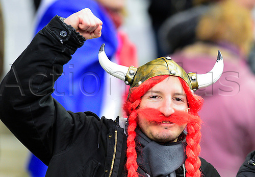 13.02.2016. Stade de France, Paris, France. 6 Nations Rugby international. France versus Ireland.  French fan celebrates their victory