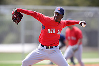 March 18, 2010:  Pitcher Manny Rivera of the Boston Red Sox organization during Spring Training at Ft.  Myers Training Complex in Fort Myers, FL.  Photo By Mike Janes/Four Seam Images
