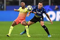 6th November 2019, Milan, Italy; UEFA Champions League football, Atalanta versus Manchester City; Raheem Sterling of Manchester City holds off Rafael Toloi of Atalanta