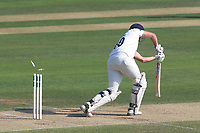 Nick Browne of Essex is bowled out by Rikki Clarke during Essex CCC vs Warwickshire CCC, Specsavers County Championship Division 1 Cricket at The Cloudfm County Ground on 19th June 2017