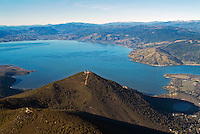 aerial view above Mount Konocti Lake County Clearlake in northern California