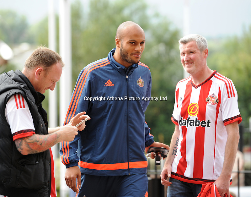Younes Kaboul of Sunderland arrives at the Stadium of Light during the Barclays Premier League match between Sunderland and Swansea City played at Stadium of Light, Sunderland