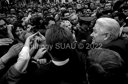 Krasnodar, Russia.1996.Russian President Boris Yeltsin campaigns for re-electioin in the southern city of Krasnodar.