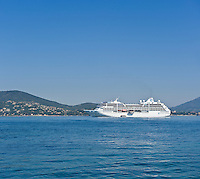 Cruise ship in Saint Tropez bay, French Riviera, France
