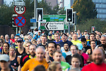 © Joel Goodman - 07973 332324 . 15/10/2017 . Manchester , UK . Athletes taking part in the Greater Manchester Half Marathon in Old Trafford . Photo credit : Joel Goodman