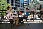 Charlotte NC - Businessmen on break eating lunch in uptown