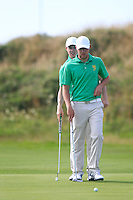 Stuart Grehan (IRL) and Paul McBride (IRL) during the Home Internationals day 2 foursomes matches supported by Fairstone Financial Management Ltd. at Royal Portrush Golf Club, Portrush, Co.Antrim, Ireland.  13/08/2015.<br /> Picture: Golffile   Fran Caffrey<br /> <br /> <br /> All photo usage must carry mandatory copyright credit (© Golffile   Fran Caffrey)