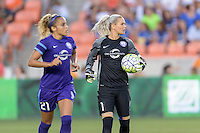 Ashlyn Harris (1) of the Orlando Pride looks to her team after a goal line stop against the Houston Dash on Friday, May 20, 2016 at BBVA Compass Stadium in Houston Texas. The Orlando Pride defeated the Houston Dash 1-0.