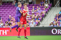 Orlando, FL - Saturday April 22, 2017: Steph Catley, Havana Solaun during a regular season National Women's Soccer League (NWSL) match between the Orlando Pride and the Washington Spirit at Orlando City Stadium.