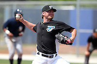 Toronto Blue Jays pitcher Kyle Drabek #4 during a game vs the New York Yankees at the Englebert Minor League Complex in Dunedin, Florida;  March 21, 2011.  Photo By Mike Janes/Four Seam Images
