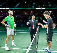 Rotterdam, The Netherlands, Februari 11, 2016,  ABNAMROWTT, Jiri Vesely (CZE), Roberto Bautista Agut (ESP) Toss<br /> Photo: Tennisimages/Henk Koster