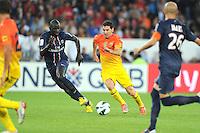 Mamadou Sakho (PSG) vs Lionel Messi (Barcelone).Parigi, 04/08/2012.Trofeo di Parigi .Paris Saint Germain vs FC Barcellona.foto Insidefoto / Jean Bibard / Panoramic ..Italy Only