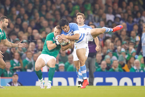 18.10.2015. Millennium Stadium, Cardiff, Wales. Rugby World Cup Quarter Final. Ireland versus Argentina. Argentina centre Matias Moroni jumps for the ball.