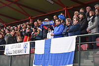 20190406  - Tubize , BELGIUM : fans from Finland  pictured during the soccer match between the women under 19 teams of Belgium and Finland , on the second matchday in group 2 of the UEFA Women Under19 Elite rounds in Tubize , Belgium. Saturday 6 th April 2019 . PHOTO DIRK VUYLSTEKE / Sportpix.be