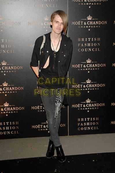 "GARETH PUGH .Moet & Chandon ""Evening of the Moet Mirage"".in Holland Park during London Fashion Week.16th September 2007 London, England.full length black jacket top boots jeans denim .CAP/PL.©Phil Loftus/Capital Pictures"