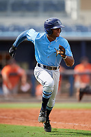 Tampa Bay Rays Kea'von Edwards (54) runs to first base during a Florida Instructional League game against the Baltimore Orioles on October 1, 2018 at the Charlotte Sports Park in Port Charlotte, Florida.  (Mike Janes/Four Seam Images)