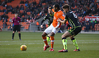 Blackpool's Nathan Delfouneso shields the ball from Bristol Rovers' Ryan Sweeney<br /> <br /> Photographer Stephen White/CameraSport<br /> <br /> The EFL Sky Bet League One - Blackpool v Bristol Rovers - Saturday 13th January 2018 - Bloomfield Road - Blackpool<br /> <br /> World Copyright &copy; 2018 CameraSport. All rights reserved. 43 Linden Ave. Countesthorpe. Leicester. England. LE8 5PG - Tel: +44 (0) 116 277 4147 - admin@camerasport.com - www.camerasport.com