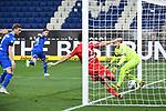 Christoph Baumgartner (Hoffenheim) schiesst das Tor zum 2-0 gegen Torwart Timo Horn (1. FC Koeln) und Mere Jorge (1. FC Koeln).<br /> <br /> Sport: Fussball: 1. Bundesliga: Saison 19/20: 28. Spieltag: TSG 1899 Hoffenheim - 1. FC Koeln, 27.05.2020<br /> <br /> Foto: Markus Gilliar/GES/POOL/PIX-Sportfotos.<br /> <br /> Nur für journalistische Zwecke! Only for editorial use!<br /> <br /> Gemäß den Vorgaben der DFL Deutsche Fußball Liga ist es untersagt, in dem Stadion und/oder vom Spiel angefertigte Fotoaufnahmen in Form von Sequenzbildern und/oder videoähnlichen Fotostrecken zu verwerten bzw. verwerten zu lassen. DFL regulations prohibit any use of photographs as image sequences and/or quasi-video.