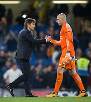 Chelsea Manager Antonio Conte & Goalkeeper Wilfredo Caballero of Chelsea at full time during the Carabao Cup round of 16 match between Chelsea and Everton at Stamford Bridge, London, England on 25 October 2017. Photo by Andy Rowland.