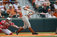 Texas Longhorns outfielder Collin Shaw (4) swings the bat during the NCAA baseball game against the Houston Cougars on June 6, 2014 at UFCU Disch–Falk Field in Austin, Texas. The Longhorns defeated the Cougars 4-2 in Game 1 of the NCAA Super Regional. (Andrew Woolley/Four Seam Images)